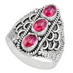 3.24cts natural multi color tourmaline 925 sterling silver ring size 9 r13214