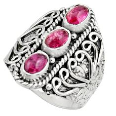 3.26cts natural multi color tourmaline 925 sterling silver ring size 8 r13215