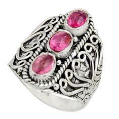 3.17cts natural multi color tourmaline 925 sterling silver ring size 7.5 r13218