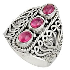 3.23cts natural multi color tourmaline 925 sterling silver ring size 8.5 r13220