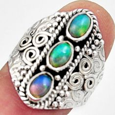 3.41cts natural multi color ethiopian opal 925 silver ring size 8 r13221