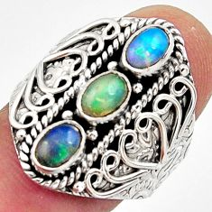 3.32cts natural multi color ethiopian opal 925 silver ring size 7.5 r13222