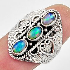 925 silver 3.24cts natural multi color ethiopian opal ring size 8 r13227