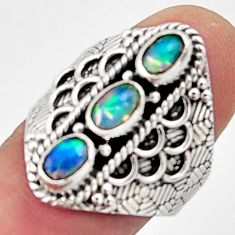 3.28cts natural multi color ethiopian opal 925 silver ring size 8 r13228