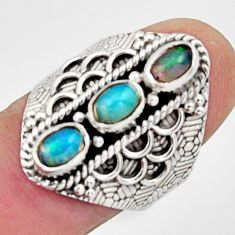 3.28cts natural multi color ethiopian opal 925 silver ring size 7.5 r13229