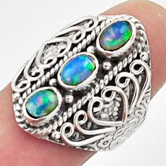 3.24cts natural multi color ethiopian opal 925 silver ring size 8 r13231