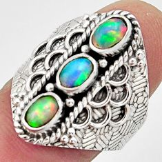 3.41cts natural multi color ethiopian opal 925 silver ring size 8.5 r13232