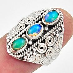 3.39cts natural multi color ethiopian opal 925 silver ring size 7.5 r13235