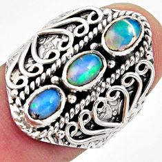 3.13cts natural multi color ethiopian opal 925 silver ring size 7.5 r13241
