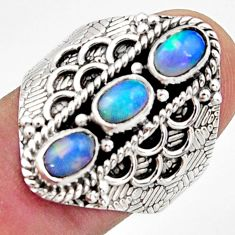 925 silver 3.39cts natural multi color ethiopian opal oval ring size 8.5 r13244