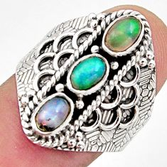 3.37cts natural multi color ethiopian opal 925 silver ring size 8.5 r13246