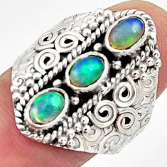 925 silver 3.23cts natural multi color ethiopian opal oval ring size 8.5 r13248