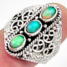 3.23cts natural multi color ethiopian opal 925 silver ring size 9 r13249