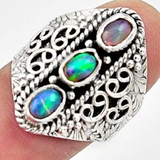 3.37cts natural multi color ethiopian opal 925 silver ring size 8 r13250