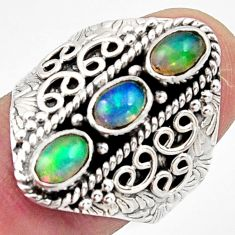 3.41cts natural multi color ethiopian opal 925 silver ring size 8 r13251
