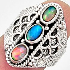 925 silver 3.25cts natural multi color ethiopian opal ring size 8 r13252