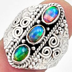 3.23cts natural multi color ethiopian opal 925 silver ring size 8.5 r13253