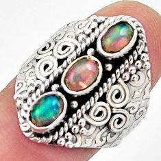3.24cts natural multi color ethiopian opal 925 silver ring size 8 r13254