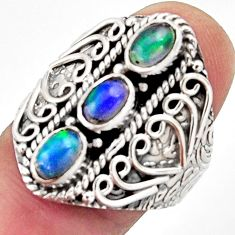 3.14cts natural multi color ethiopian opal 925 silver ring size 9 r13255