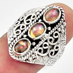925 silver 3.39cts natural multi color ethiopian opal ring size 8.5 r13256