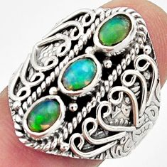 3.44cts natural multi color ethiopian opal 925 silver ring size 9 r13258