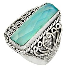 6.16cts natural aqua chalcedony 925 silver solitaire ring jewelry size 7 r13265