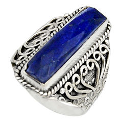 6.20cts natural blue lapis lazuli 925 silver solitaire ring size 8 r13273