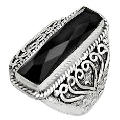 925 sterling silver 6.32cts natural black onyx solitaire ring size 8 r13274