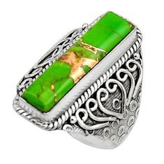 5.62cts green copper turquoise 925 silver solitaire ring jewelry size 8.5 r13276