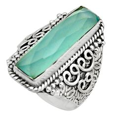 6.20cts natural aqua chalcedony 925 silver solitaire ring jewelry size 7 r13287