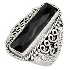925 sterling silver 6.32cts natural black onyx solitaire ring size 8.5 r13289