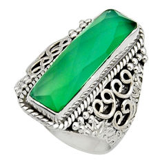 6.53cts natural green chalcedony 925 silver solitaire ring jewelry size 8 r13291