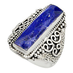 6.52cts natural blue lapis lazuli 925 silver solitaire ring size 8.5 r13294