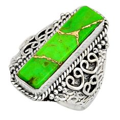 5.47cts green copper turquoise 925 silver solitaire ring jewelry size 9 r13297