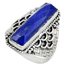 6.72cts natural blue lapis lazuli 925 silver checker cut ring size 8 r13314