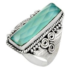 6.32cts checker cut aqua chalcedony 925 silver solitaire ring size 9 r13322