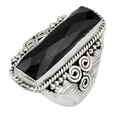 6.53cts natural black onyx 925 sterling silver checker cut ring size 7.5 r13331