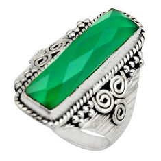 925 silver 6.67cts natural green chalcedony checker cut ring size 9 r13334