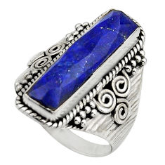 6.55cts natural blue lapis lazuli 925 silver checker cut ring size 8 r13336