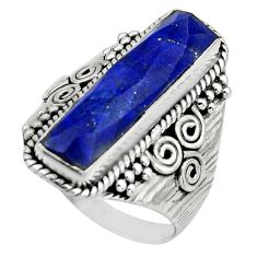 6.32cts natural blue lapis lazuli 925 silver checker cut ring size 8 r13337