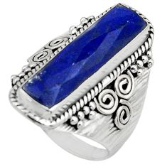 925 silver 6.55cts natural blue lapis lazuli checker cut ring size 8 r13338