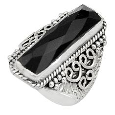 925 sterling silver 6.55cts natural black onyx checker cut ring size 7 r13340