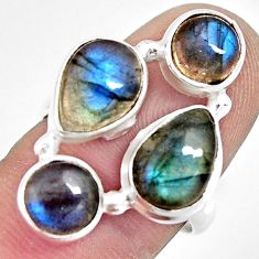 8.03cts natural blue labradorite 925 sterling silver ring jewelry size 7 r13643