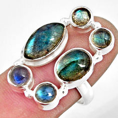 925 sterling silver 10.59cts natural blue labradorite ring jewelry size 8 r13644