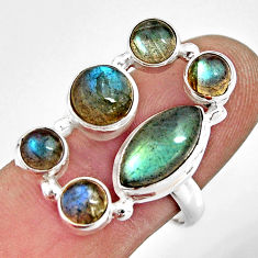 10.33cts natural blue labradorite 925 sterling silver ring jewelry size 8 r13649