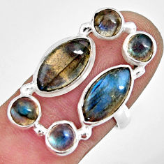 925 sterling silver 13.09cts natural blue labradorite ring size 7.5 r13650