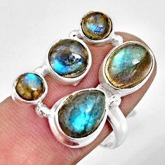 8.24cts natural blue labradorite 925 sterling silver ring jewelry size 8 r13659