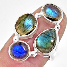 925 sterling silver 10.70cts natural blue labradorite ring jewelry size 7 r13664