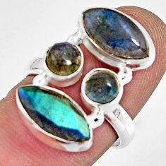 12.07cts natural blue labradorite 925 sterling silver ring size 6.5 r13668