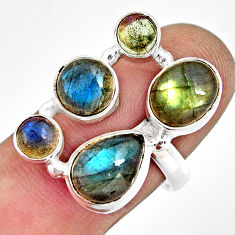 925 sterling silver 8.24cts natural blue labradorite oval ring size 8.5 r13670